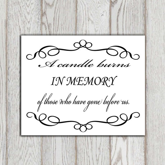 In loving memory printable memorial table wedding memorial sign memorial quotes a candle burns for In loving memory free printable
