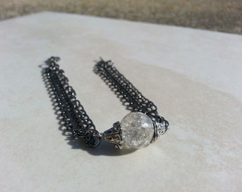 Bracelet - Gunmetal Chain and Cracked Glass Bead