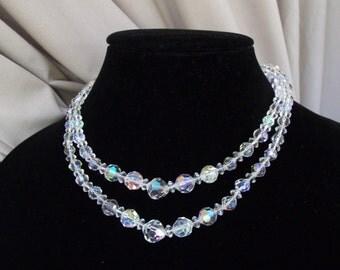Brilliant Vintage Aurora Borealis AB Necklace Double Strand