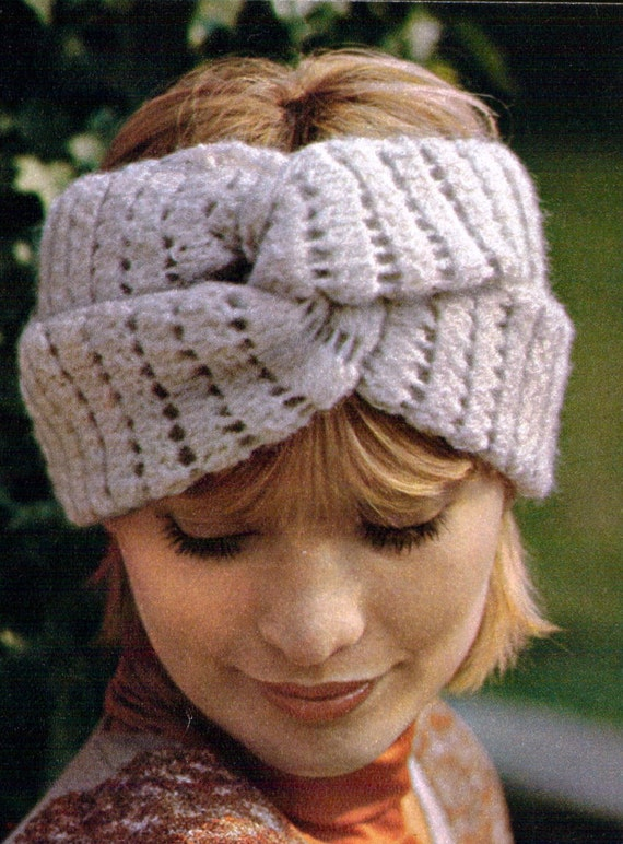 Turban Vintage Crochet Pattern Knotted Head Wrap Ear Warmer