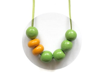 SALE! Clay beads necklace. Geometric necklace. Air dry clay necklace. Clay beaded necklace. Long necklace.green statement.Statement necklace