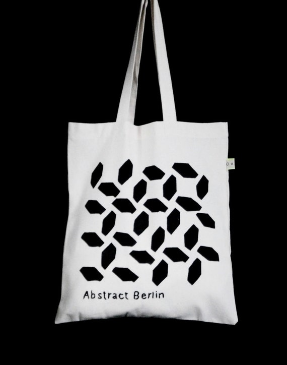 Kino International -Simple Design 100% Cotton Geometric Tote Bag- Handmade Embroidered Pattern Bag
