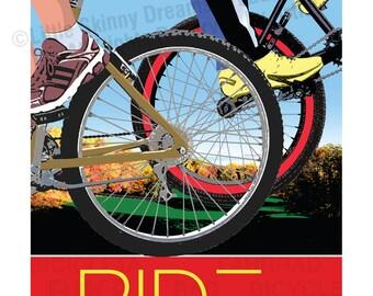 RIDE 1, 24 x 30 Graphic Art Biking Inspiration Print
