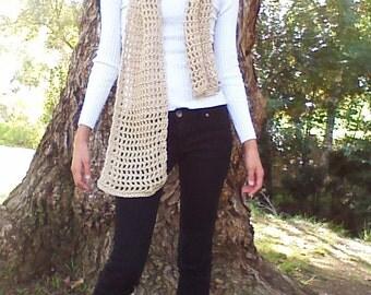 Hand Crocheted Lacy Yarn Scarf - Free Shipping!
