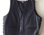 Vintage 1980's / 1990's Black Leather Eagle Print Unisex Biker Vest