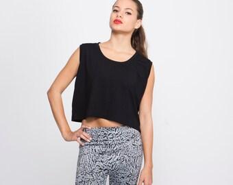 Black Crop Top, Women Sleeveless Top, Stretchy Black Shirt, loose black tank top, short top, casual top, sporty tank top, loose fit tank top