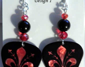 French Fleur de Lis (2 Styles) Guitar Pick Beaded Earrings - Handmade in USA