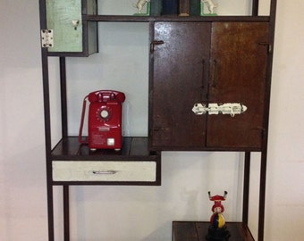 eclectic vintage industrial display unit, industrial shop fitting, industrial furniture