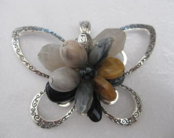 Supplies ~ Huge Butterfly Pendant  Black Grey Tan  Beads Silver 3 1/2""