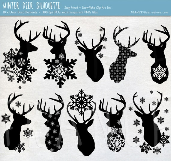 GET 3 FOR 2. Stag Snowflake Deer Silhouette Clipart. Deer
