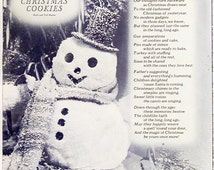 """Poetry Art Page """"Making Christmas Cookies"""" by Ruth & Ted Hueter, Vintage 1950s/60s Inspirational Poem Illustrated 8.5x11 Wall Decor Art"""