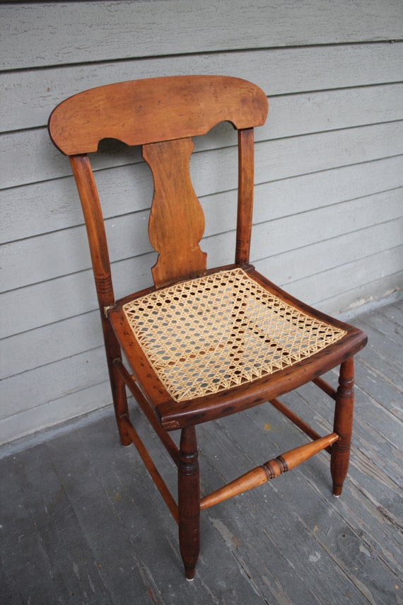 Antique Vernacular Empire Cane Bottom Side Chair C 1850