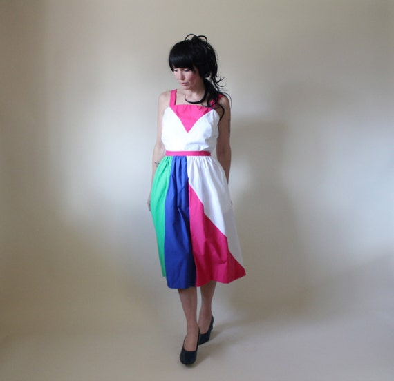 Colorblock Summer Dress, Geometric Sundress, Vintage 1970s Jenni,  Day Dress, Size Medium 7 8 9