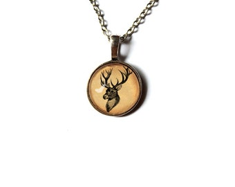 Stag pendant Deer necklace Antique style Animal jewelry NW25