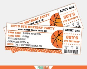 Basketball Party Invitation - Basketball Birthday Invitation - Basketball invitation - Basketball Ticket invitation (Instant Download)