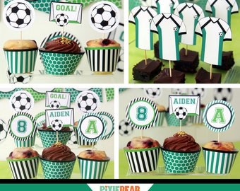 Soccer Party Toppers - Soccer Cupcake Topper - Soccer Birthday - Kids Soccer Party - Printable Soccer - Soccer Decoration (Instant Download)
