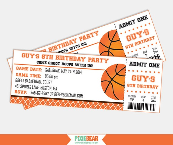13 Basketball Ticket Invitation Card Designs Templates Name