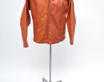 vintage leather jacket custom made san franciso jacket large