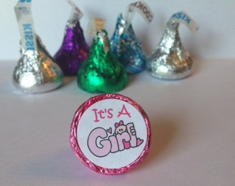 Baby Girl ~ Its A Girl ~ 108 Hershey Kiss Candy Label Stickers