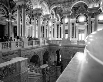 Library of Congress Photo Print: Washington DC, USA, Classical Architecture, B&W, The Mall, Travel, 4x6, 5x7, 8x10, Snapshot, Polaroid, lc2