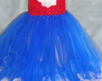 Patriotic Red, White and Blue Tutu Dress with satin ribbon bow