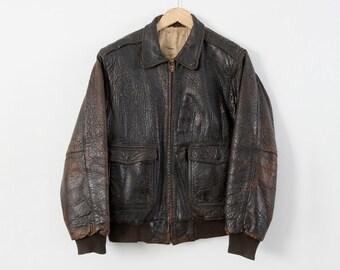 vintage bomber jacket,  men's leather aviator jacket