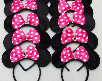 Mickey Ears and Minnie Mouse Ears_10 ct_ Hot Pink Bow_for Dress up Minnie Mouse theme Birthday, Mickey Mouse Party