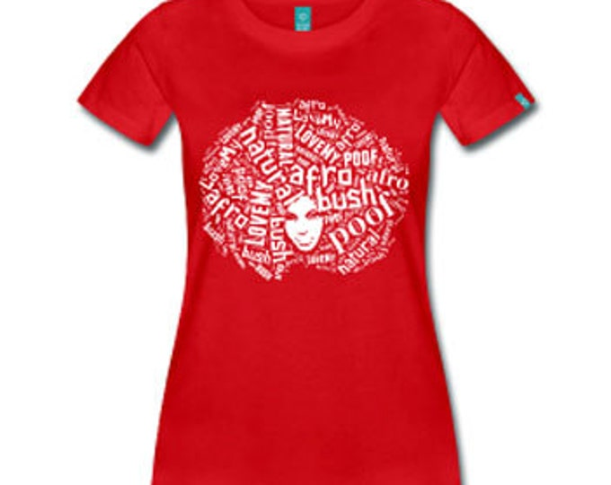 I Love My Afro Poof Natural Hair Women's Fitted T-shirt - Red