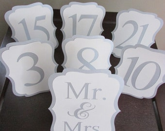 Elegant Wedding Table Number, Silver Shimmer and White Table Numbers, Custom Color Table Number