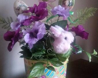 Easter Flowers, Easter Bunny Centerpiece, Purple Pansies, Decorative Eggs, Easter flowers, purple flowers, faux flower arrangement