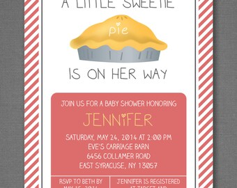 Sweetie Pie Baby Shower Invitation, Girl Baby Shower, Baby Girl Shower, Coral Baby Shower, Dessert Invitation, Printable Invitation 5x7""
