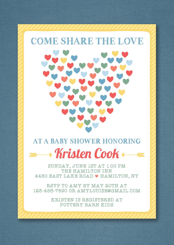 heart baby shower invitation rainbow baby shower invitation