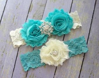 Wedding Garter Belt, Bridal Garter, Garter Sets, Custom Garter, Garter Wedding, Aqua Garter, Something Blue, Ivory Garter