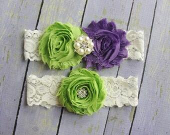 Apple Green Garter, Wedding Garter, Eggplant Garter, Green and Purple Garter, Plum Wedding Garter, Purple Bridal Garter, Ivory Lace Garter