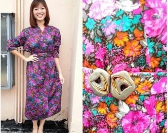 CLEARANCE SALE/ Vintage Dress / Gaudy Floral Dress / Floral Dress / Purple Dress / Large Dress / XL Dress / Party Dress / Dinner Dress
