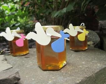 Honey Baby Shower Favors, 12 Baby Shower Honey Favor, Baby Shower Favours, Honey Baby Shower Favor, Baby Shower Favor Stork Tag, Honey Favor
