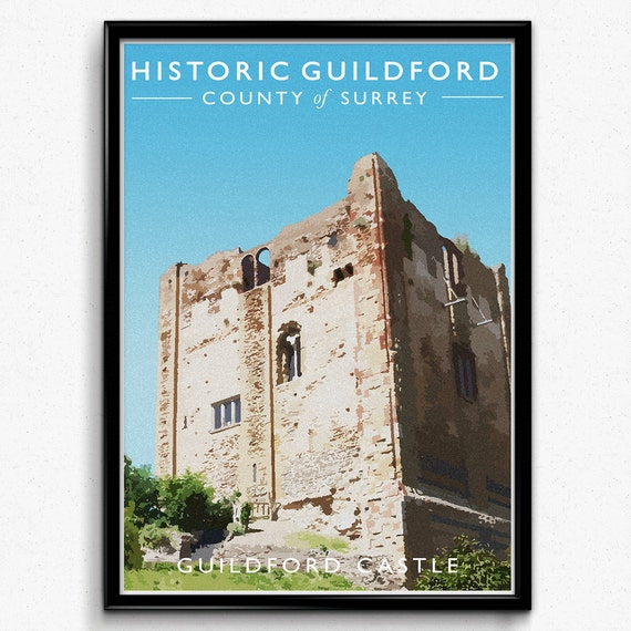 Guildford Castle Vintage Style Travel Print