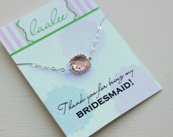 Dainty Silver Peach Necklace - Bridesmaid Gift Under 25 - Pink Wedding Jewelry - Champagne Blush Bridesmaid Necklace Silver Blush Jewelry