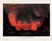 1900s VOLCANO, Original antique nature print. lake of fire on the crater of Kilauea in the Hawaiian Islands