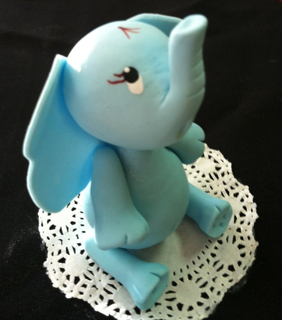 Baby Elephant Cake Decoration : Elephant Cake Topper, Elephant Baby Shower, Blue Elephant ...