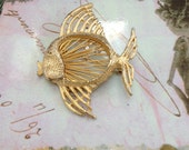 Gold Vintage Fish Brooch with Detailed Fins