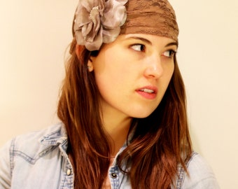 brown lace headband, floral women Headband, Womens turban Headband, Hair Wrap, Head Wrap,  Elastic headband, brown Turband, BUY 3 GET 1 FREE