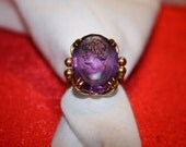 3rd PAYMENT ANTHEA**elaborate 18K Vintage Large Amethyst  Intaglio Cut Goddess  Womens Signet Ring Yellow Gold size 8 1/2 with Gold Filigree