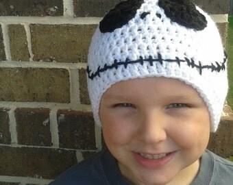Jack Skellington inspired Hat, Crochet Skull Hat, Skeleton Beanie, White Black Hat, Crocheted Skeleton Cap, Nightmare Before Christmas Hat