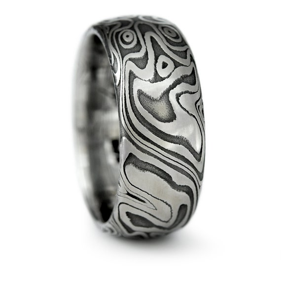Damascus Steel Domed Wedding Band With Four Pointed Swirling