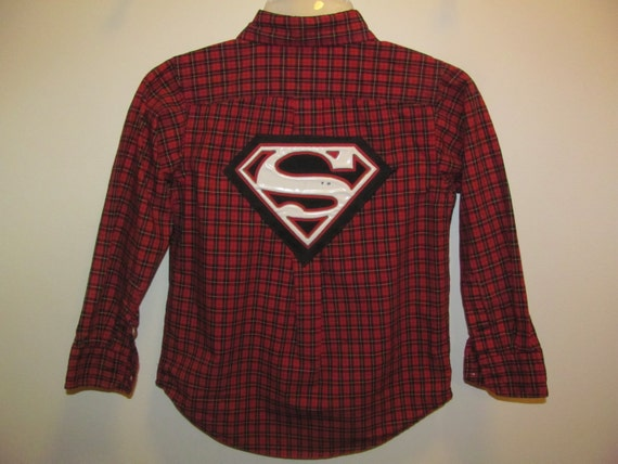 Upcycled superman dress shirt chaps size 5 for Make your own superman shirt