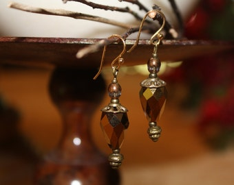 Incandescent lantern earrings.