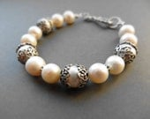 Ornate vintage pearl bracelet / freshwater pearls, silver plated brass