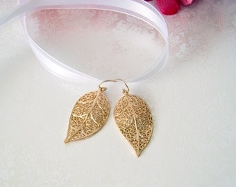 Gold Leaf Earrings, Gold Filigree Drop Earrings, Gold Filigree Leaf Drops, Gold Statement Earrings