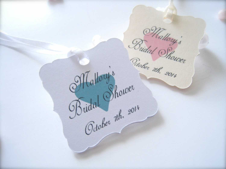 Bridal shower favor tags mini favor tags personalized shower for Personalized wedding shower favors